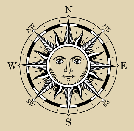 Compass in the form of the sun. The style of engraving. Stock Photo