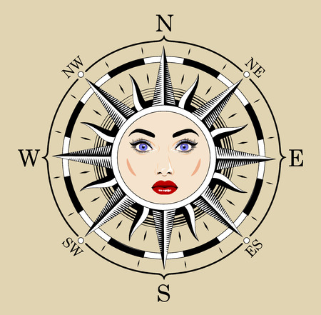 star path: Compass in the form of the sun. The style of engraving. Stock Photo