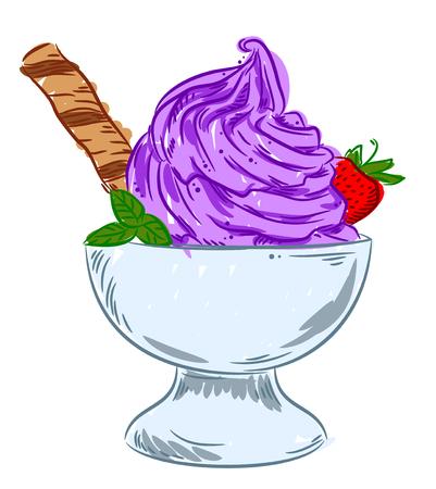 glace Appétissant dans le bol avec des fraises et gaufrettes, dessin à main levée, griffonnage