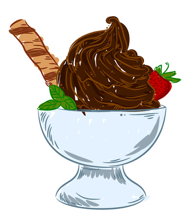Appetizing ice-cream in the bowl with strawberries and wafer rolls, freehand drawing, doodle Illustration