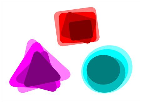 Conjunto de iconos de colores geométricos, pegatinas. diseño gráfico banderas. Etiqueta de la diversión