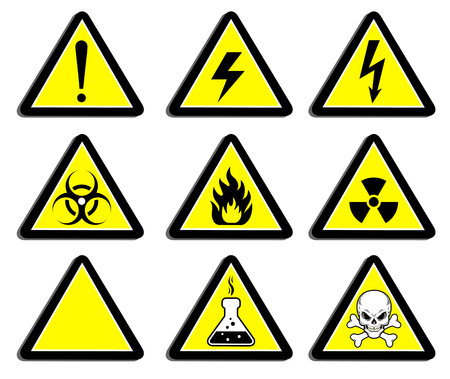 hazardous area sign: A set of signs warning of the danger. Stickers, labels, badges