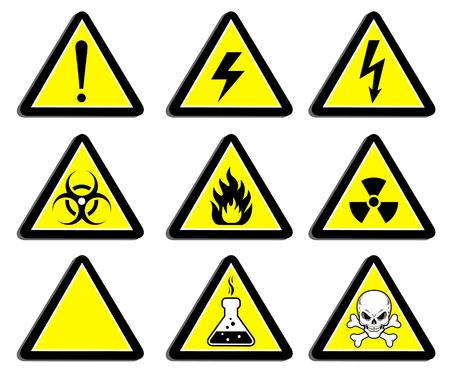 Un conjunto de señales de advertencia del peligro. Adhesivos, etiquetas, insignias