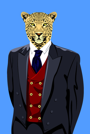 Portrait of a spotted leopard in the mens business suit