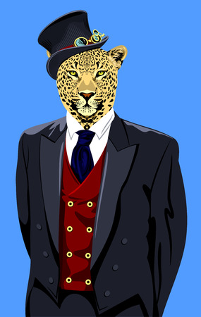 Portrait of a spotted leopard in the mens business suit and hat Illustration