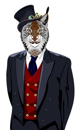 lince rojo: Retrato de lince en traje de negocios de los hombres y el sombrero