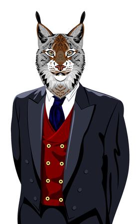 lince rojo: Retrato de lince en traje de negocios de los hombres Vectores