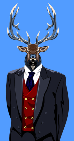 costume eye patch: Portrait of Horned deer in the mens business suit and hat