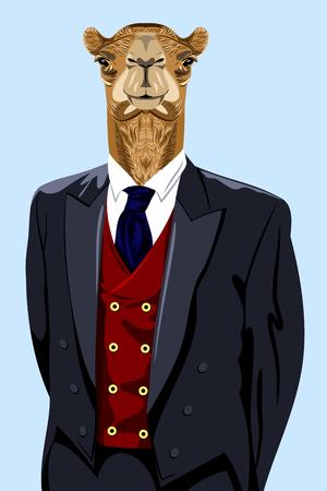 Retrato de un camello en traje de negocios de los hombres