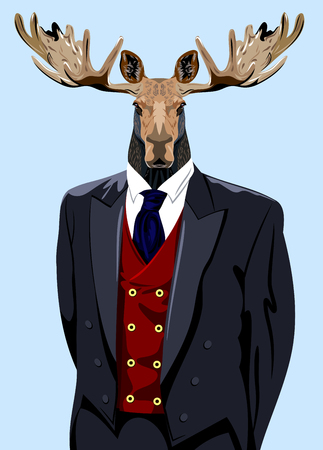 Portrait of a horned elk in the mens business suit Illustration
