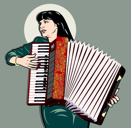 Immagine di una ragazza che gioca la fisarmonica. retro pin up in stile tradizionale