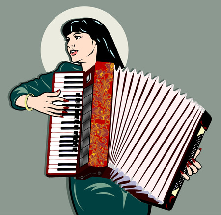 Image of a girl playing the accordion. Traditional retro pin up style