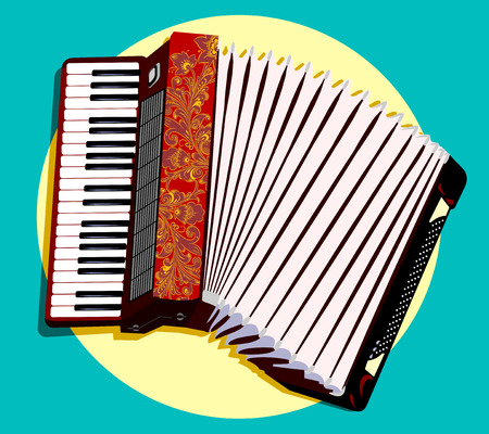 French folk instrument accordion Çizim