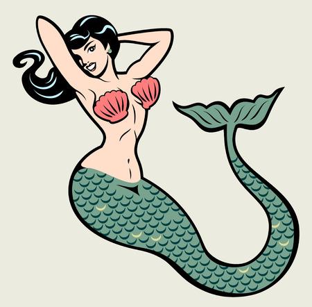 L'image d'une sirène dans le style traditionnel du vieux tatouage école pin-up