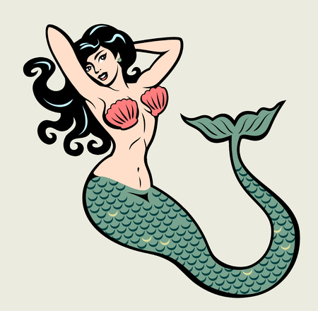 The image of a mermaid in the traditional style of Old school tattoo pin-up Çizim