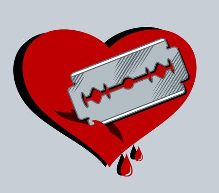 Razor, cut heart. Figure in the style of Old School Tattoos Illustration