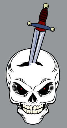 Skull with a dagger in his head. Old school tattoo style