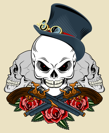 Skull in a hat with a pistol and a roses. Old school tattoo style