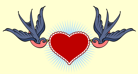 Swallows carrying a heart and banner. Old school tattoo style