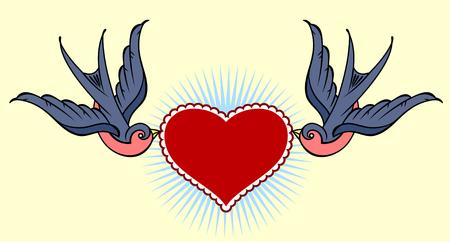 Schwalben ein Herz und Banner tragen. Old school Tattoo-Stil