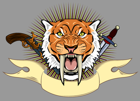 Portrait of a grin, the saber-toothed tiger on the background of a banner, and a revolver with a dagger