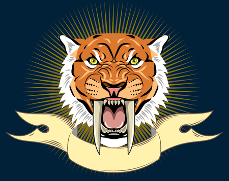 Portrait of a grin, the saber-toothed tiger on the background of a banner Illustration