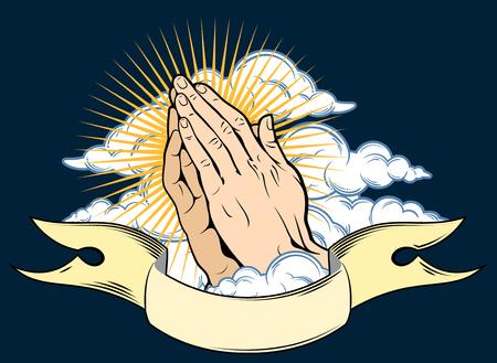 Menschliche Hände im Gebet gefaltet, auf einem Hintergrund von Wolken und Banner