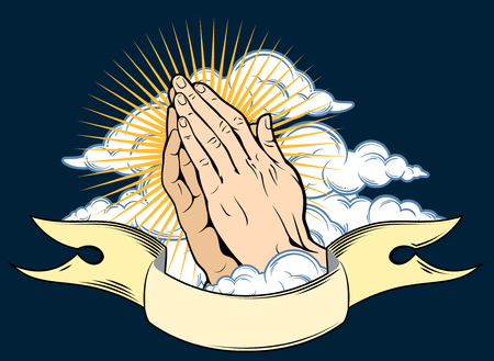 Human hands folded in prayer, on a background of clouds and banner