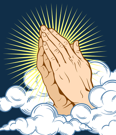 Human hands folded in prayer, on a background of clouds