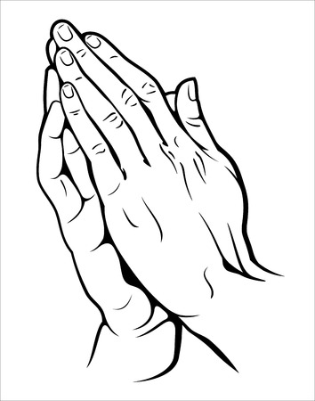 Human hands folded in prayer Çizim