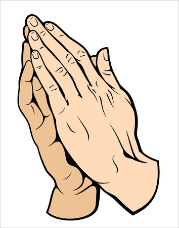 Human hands folded in prayer Vettoriali
