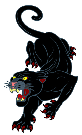 Image of a black panther, with a grinning mouth. Drawing in the style of Old School tattoo