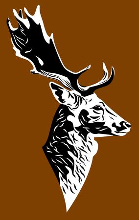 Portrait of a deer with huge antlers Illustration
