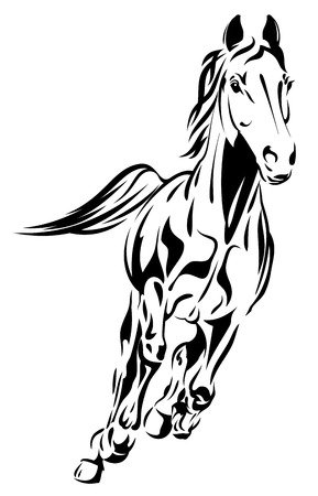 Abstract vectorial image of the galloping horse