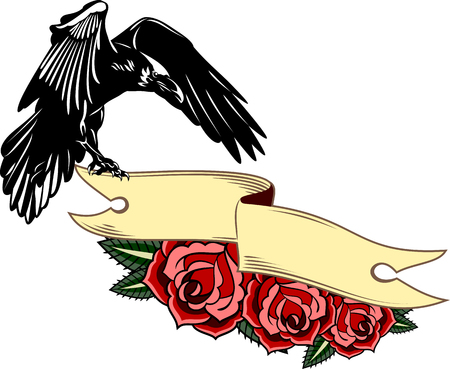 Portrait of a raven flying with a banner, roses Vector Illustration