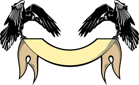 Ritratto di un corvo che vola con un banner