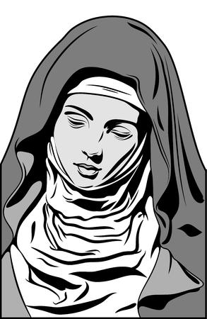 Pictogram met de afbeelding van de Maagd Maria (Madonna) Stock Illustratie