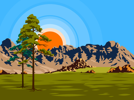 Summer landscape of the valley with trees on the background of the sun