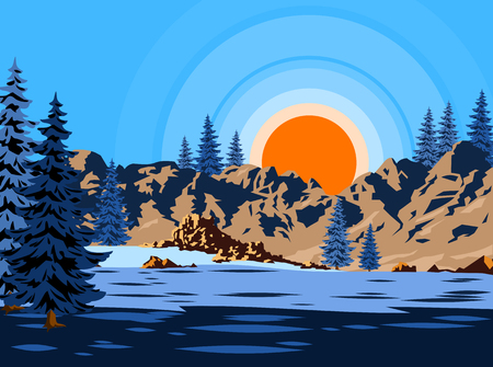 Winter landscape with fir trees on the plain background of the sun