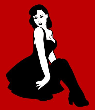 Belle fille dans le style pin Banque d'images - 94603377