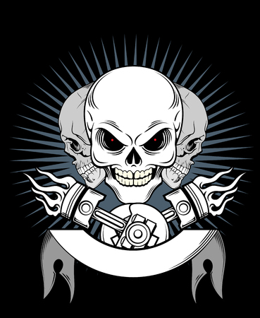 A laughing skull, on a background of a banner, and pistons Stock Illustratie