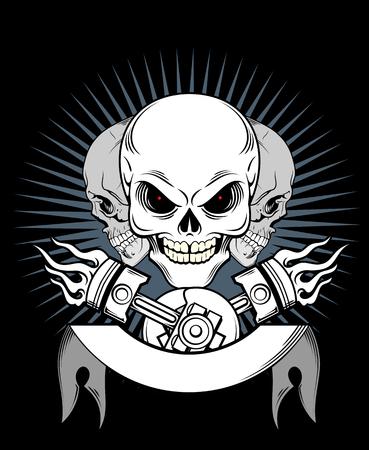 Een lachende schedel, op een achtergrond van een spandoek, en zuigers
