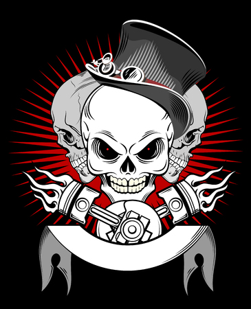A laughing skull in a hat, on a background of a banner, and pistons