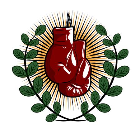 Guantes de boxeo en el estilo de la vieja escuela Ilustración de vector