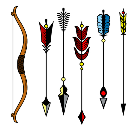 Set of images of arrows and crossbow