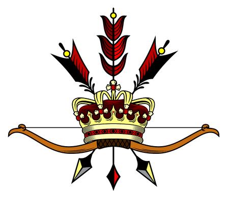 Gouden kroon met pijlen Vector illustratie. Stock Illustratie