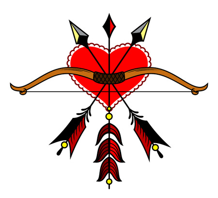 bow and arrow on the background of the heart