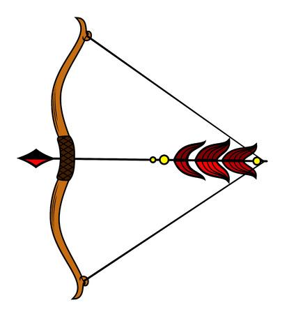 ベクトルイラストの伸張弓で弓。  イラスト・ベクター素材