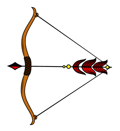 Bow with a stretched bowstring Vector illustration. Illustration