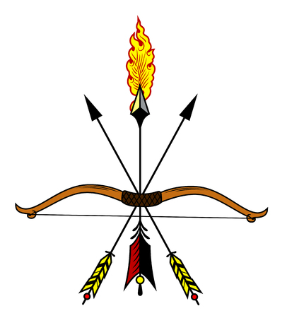 Bow with a burning arrow Vector illustration.